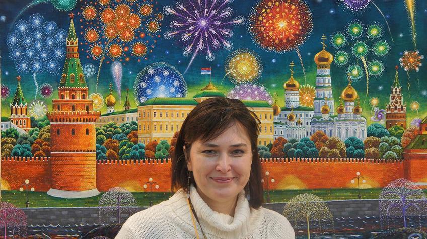 Елена Сунгатова на фоне картины Альфрида Шаймарданова::«Арт Пермь» — 2012