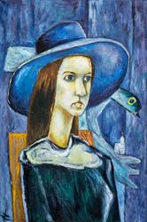 Женщина в синей шляпе. 1974. Кондратьев Д.С. (1928-2008)