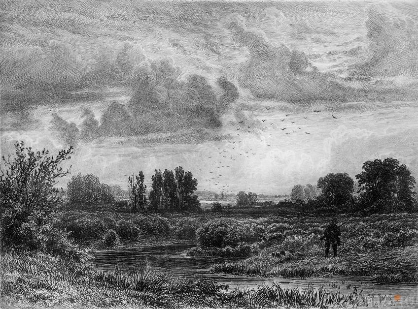 Фото №114584. Охотник на болоте. 1873.  Шишкин И.И.(1832-1898)