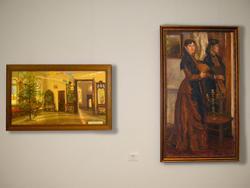 Интерьер музея. Ёлка. 1993 / Портрет с веером. 1993