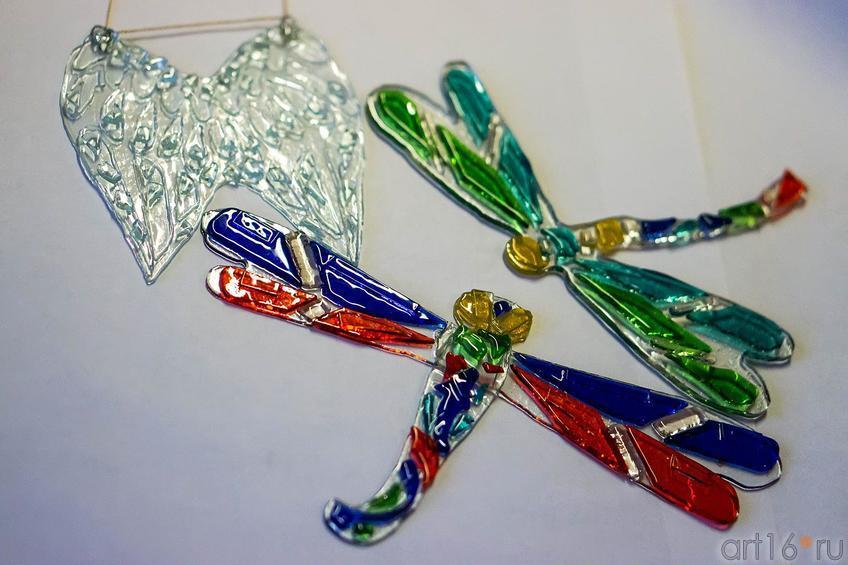Фото №119315. Крылья Ангела и 2 стрекозы. Фьюзинг. Дом стеклянного творчества, ноябрь 2012