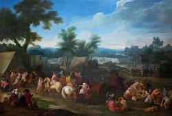 Военный лагерь. Ватто, Луи Жозеф, Франция, XVIII в., холст, масло, 93х119
