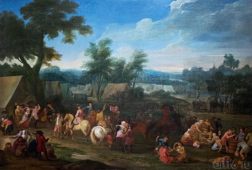 Фото №136972. Военный лагерь. Ватто, Луи Жозеф, Франция, XVIII в., холст, масло, 93х119