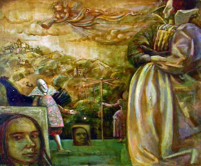 Автопортрет с куклами. 2002::29-04-08 Открытие выставки художников Татарстана