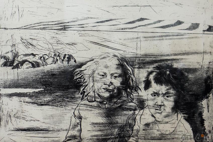 БРАТ И СЕСТРА. Из серии «ТУВА». 1985::«Пространство офорта» Александра Суворова