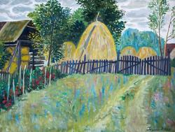 Сербия. стога на краю села. Григорий Эйдинов