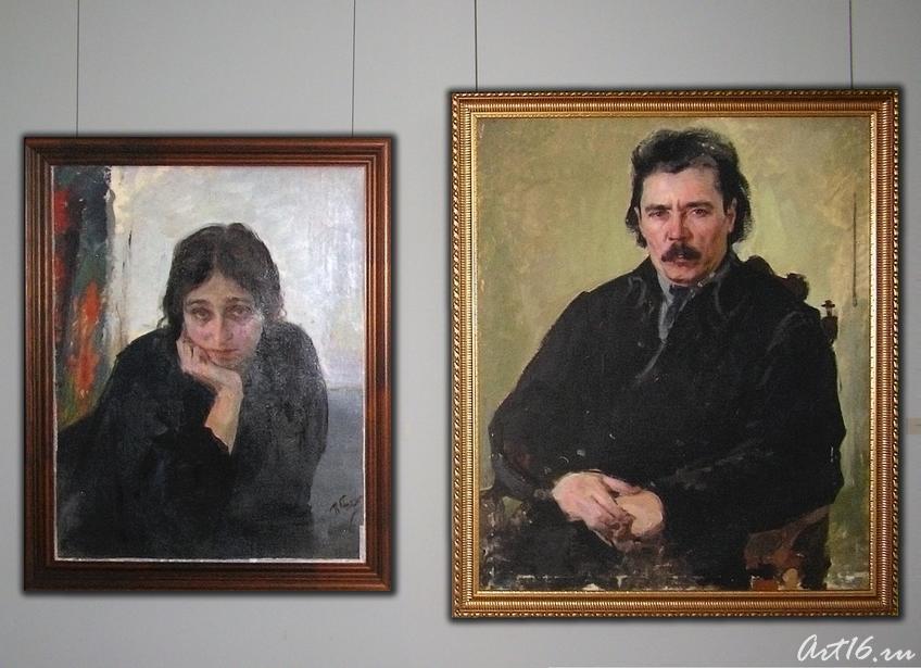 Фото №14762. Портрет жены. 1926/Портрет писателя Г. Ибрагимова. 1926. Беньков П.П.