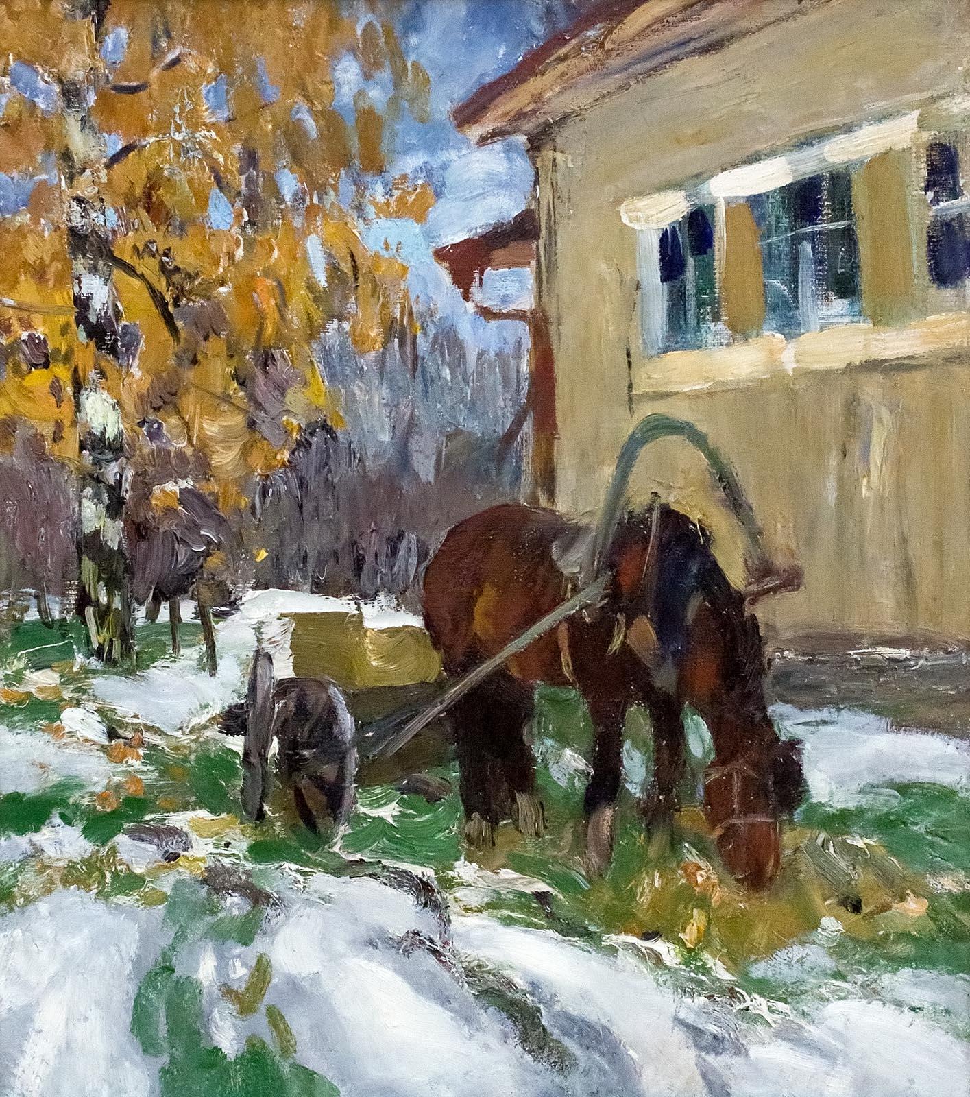 Фото №161163. И.М. Варичев, На творческой даче выпал снег 1975