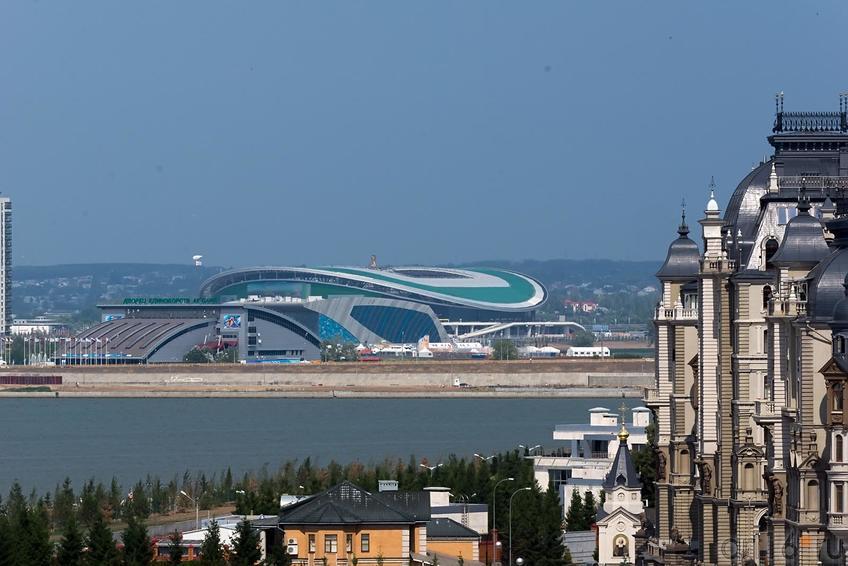 Фото №165716. Стадион «Казань-Арена», вид со смотровой площадки Казанского Кремля