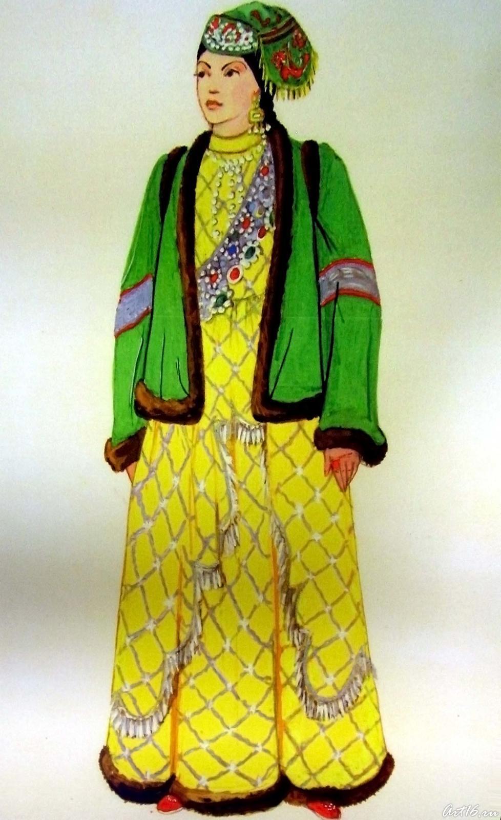 Фото №17591. Эскиз к альбому ''Костюм казанских татар''. 1970-1972