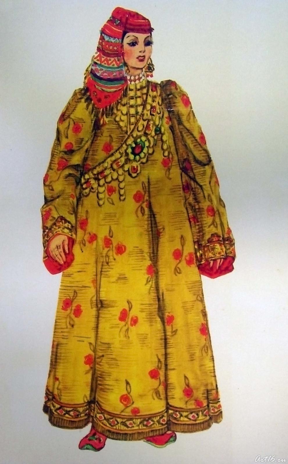 Фото №17597. Эскиз к альбому ''Костюм казанских татар''. 1970-1972