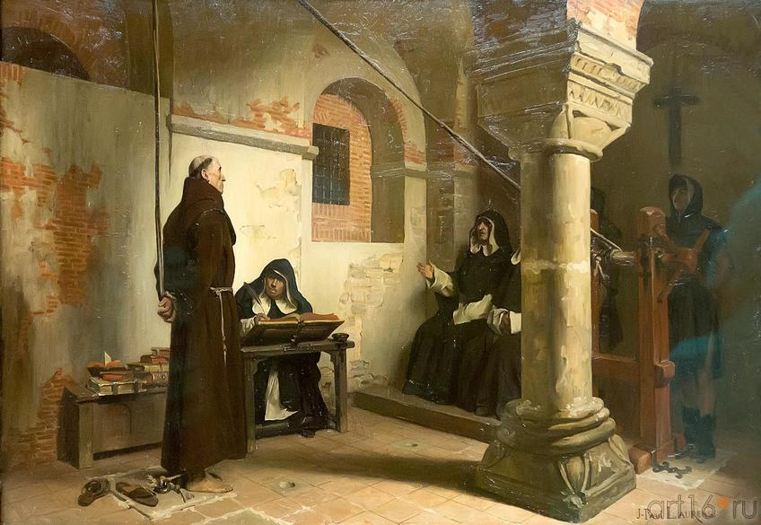 Фото №187834. ЖАН-ПОЛЬ ЛОРАНС 1838-1921 Допрос Бернара Делисье в трибунале инквизиции. Около 1881 Холст, масло
