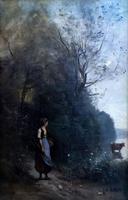КАМИЛЬ КОРО 1796- 1875 Крестьянка, пасущая корову у опушки леса. 1865-1870 Холст масло