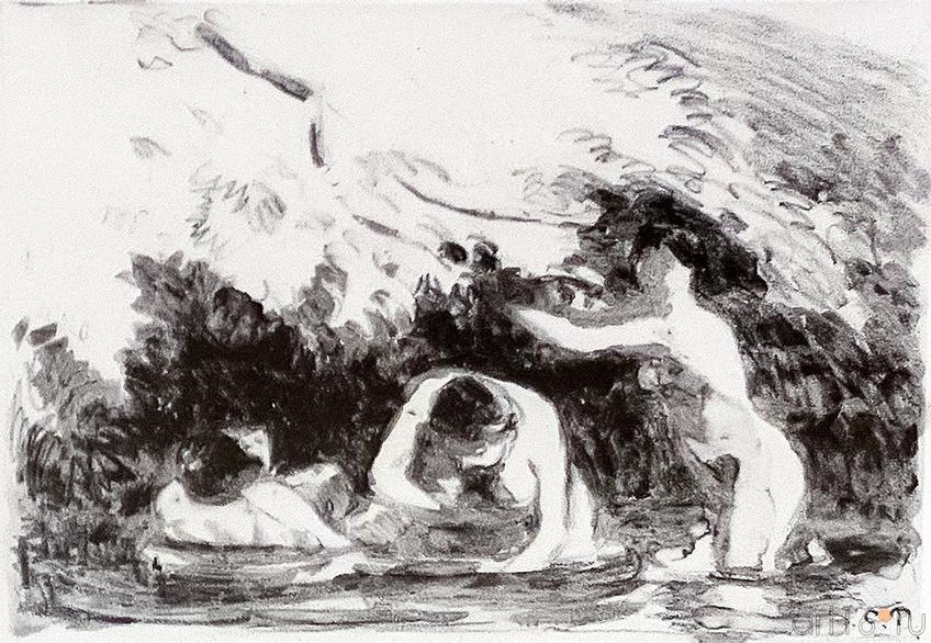 Фото №187954. КАМИЛЬ ПИССАРРО 1830- 1903 Купальщицы в тени лесистого берега. 1894