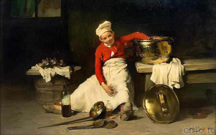 Фото №187972. ЖОЗЕФ БАЙ (БАИЛЬ) 1862-1921 Поваренок на кухне. 1893 Холст, масло