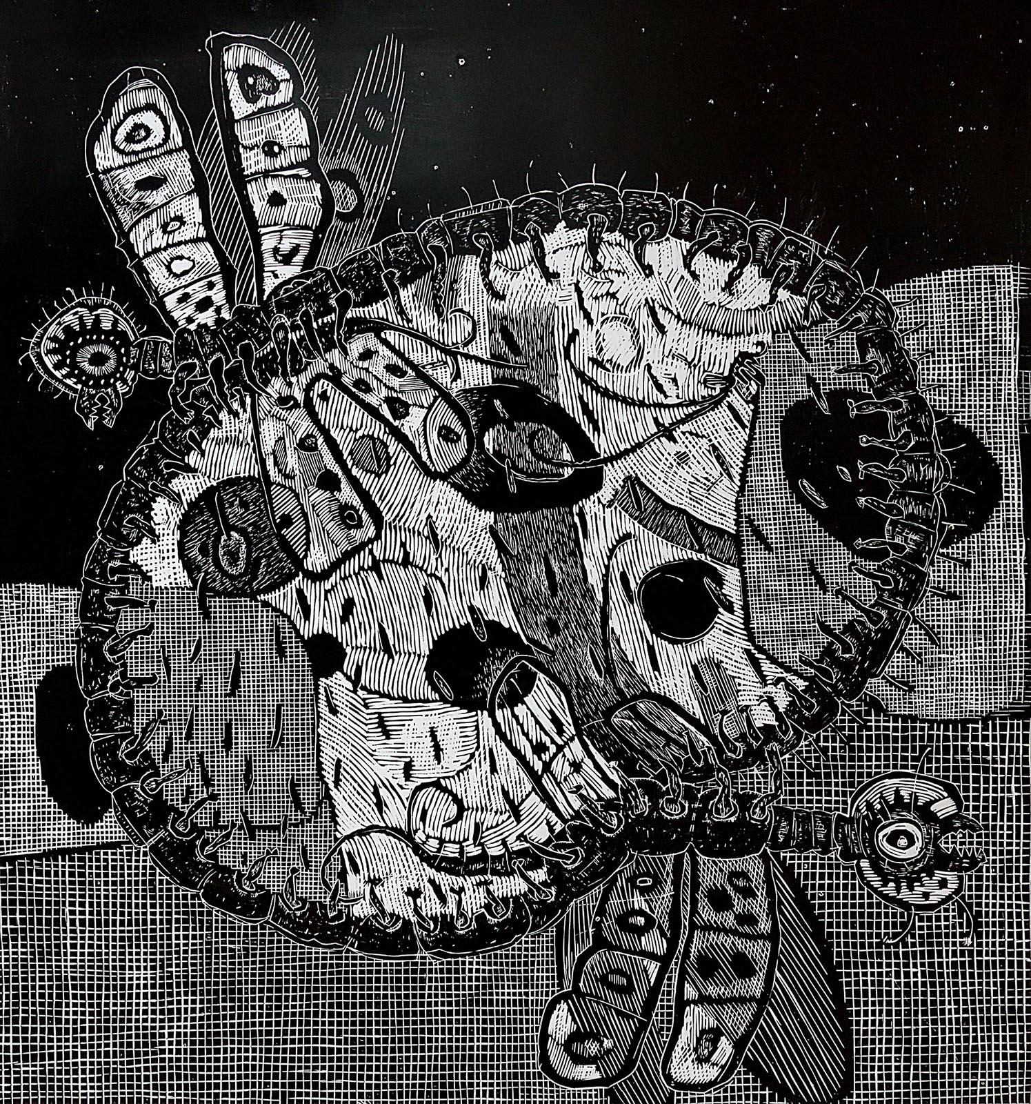 Фото №203617. ТЕРЕГУЛОВ АЙРАТ РАУФОВИЧ. 1957 Россия, Башкортостан, Уфа ANIMALS-17. 2012 Бумага, линогравюра