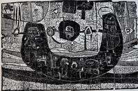 ТЕРЕГУЛОВ АЙРАТ РАУФОВИЧ. 1957 Россия, Башкортостан, Уфа УФОЛОГИЯ. 2003 Бумага, линогравюра