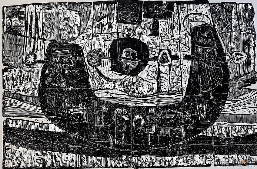 ТЕРЕГУЛОВ АЙРАТ РАУФОВИЧ. 1957 Россия, Башкортостан, Уфа УФОЛОГИЯ. 2003 Бумага, линогравюра::2-я биеннале печатной графики