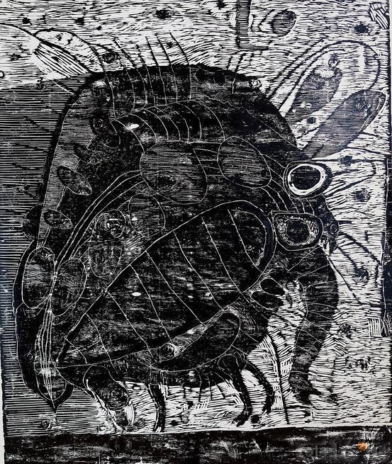ТЕРЕГУЛОВ АЙРАТ РАУФОВИЧ. 1957 Россия, Башкортостан, Уфа ЖИВОТНЫЕ-12. 2011 Бумага, гравюра на дереве::2-я биеннале печатной графики