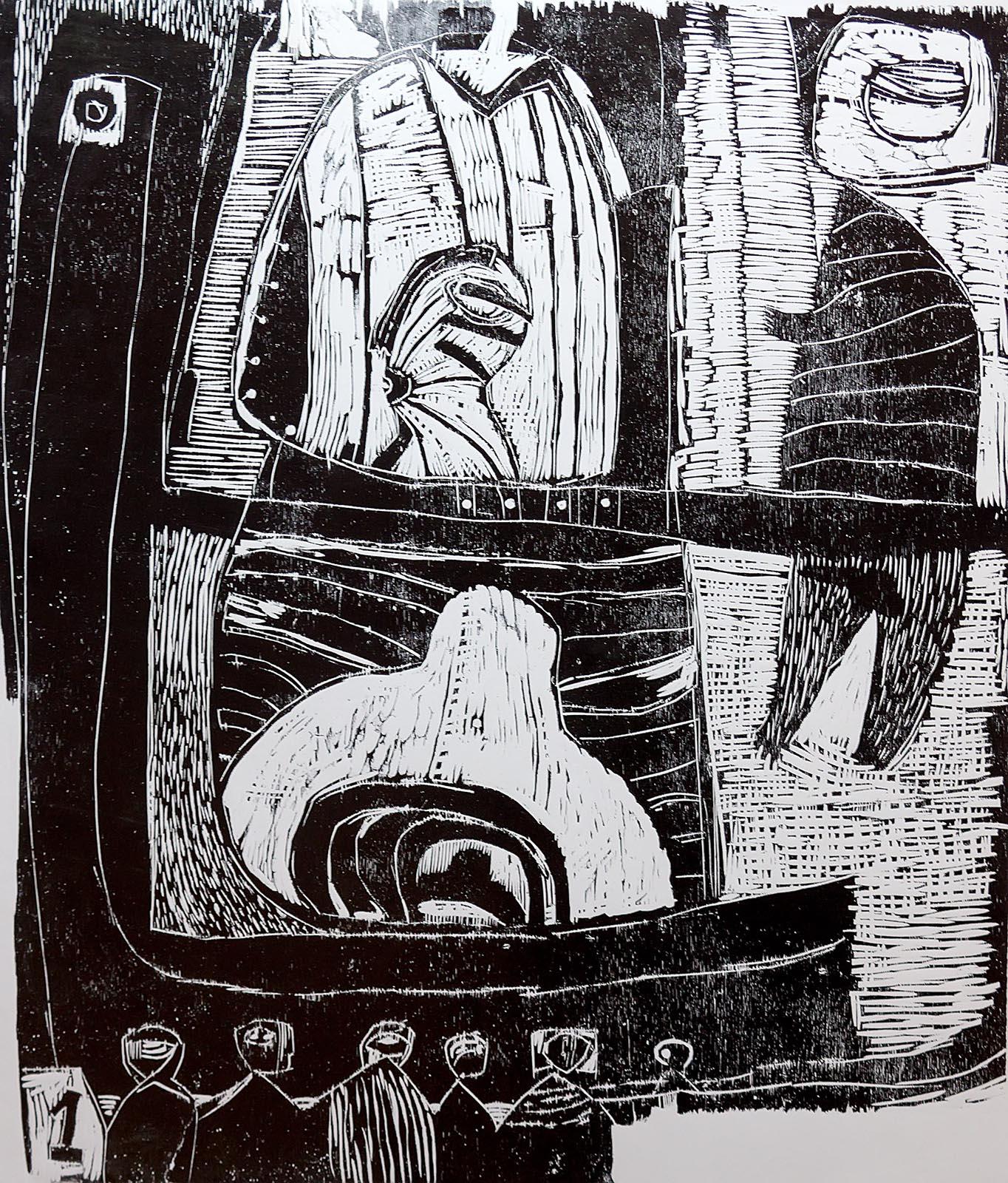 Фото №203665. ТЕРЕГУЛОВ АЙРАТ РАУФОВИЧ. 1957 Россия, Башкортостан, Уфа МОЁ ИМЯ. ЛИСТ №1. 2003 Бумага, линогравюра
