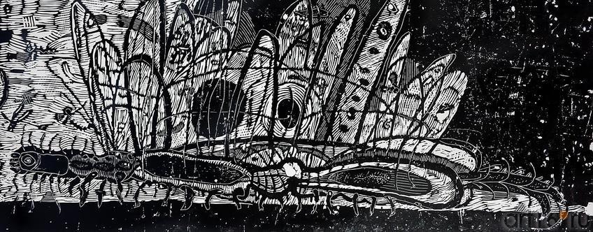 Фото №203671. ТЕРЕГУЛОВ АЙРАТ РАУФОВИЧ. 1957 Россия, Башкортостан, Уфа ЖИВОТНЫЕ-11. 2011 Бумага, линогравюра