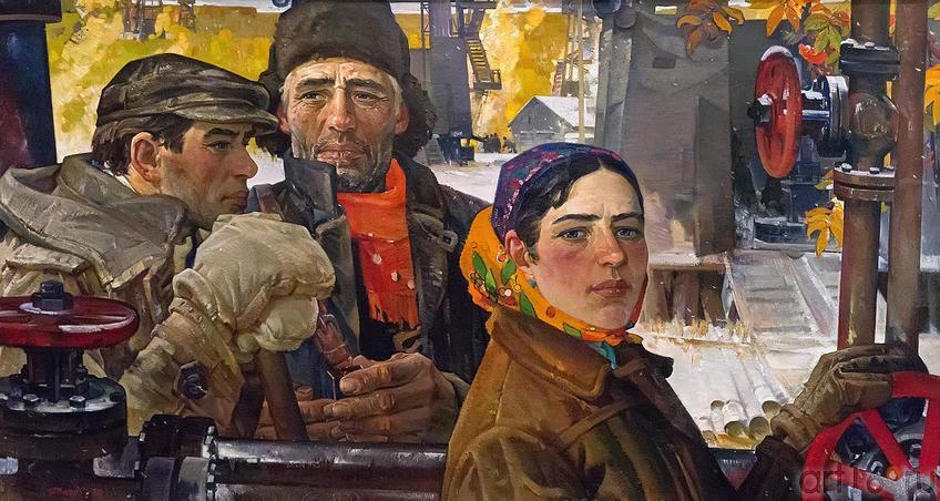 ЯКУПОВ Х.А. 1919-2010 ЗОЛОТО ТАТАРИИ. 1974 Картон, масло::«Реалистическое искусство России и Татарстана»