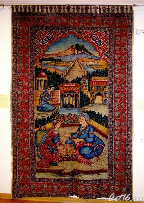 Каламкар ʺБахрам Гур в замке у индийской царевныʺ::«Изобразительные ковры и каламкары мусульманского Востока»
