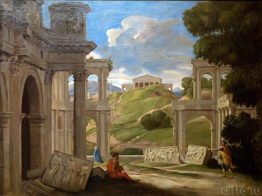 Фото №211273. ЛЕМЕР ЖАН. 1597- 1659 Франция ДРЕВНИЕ РАЗВАЛИНЫ Холст, масло