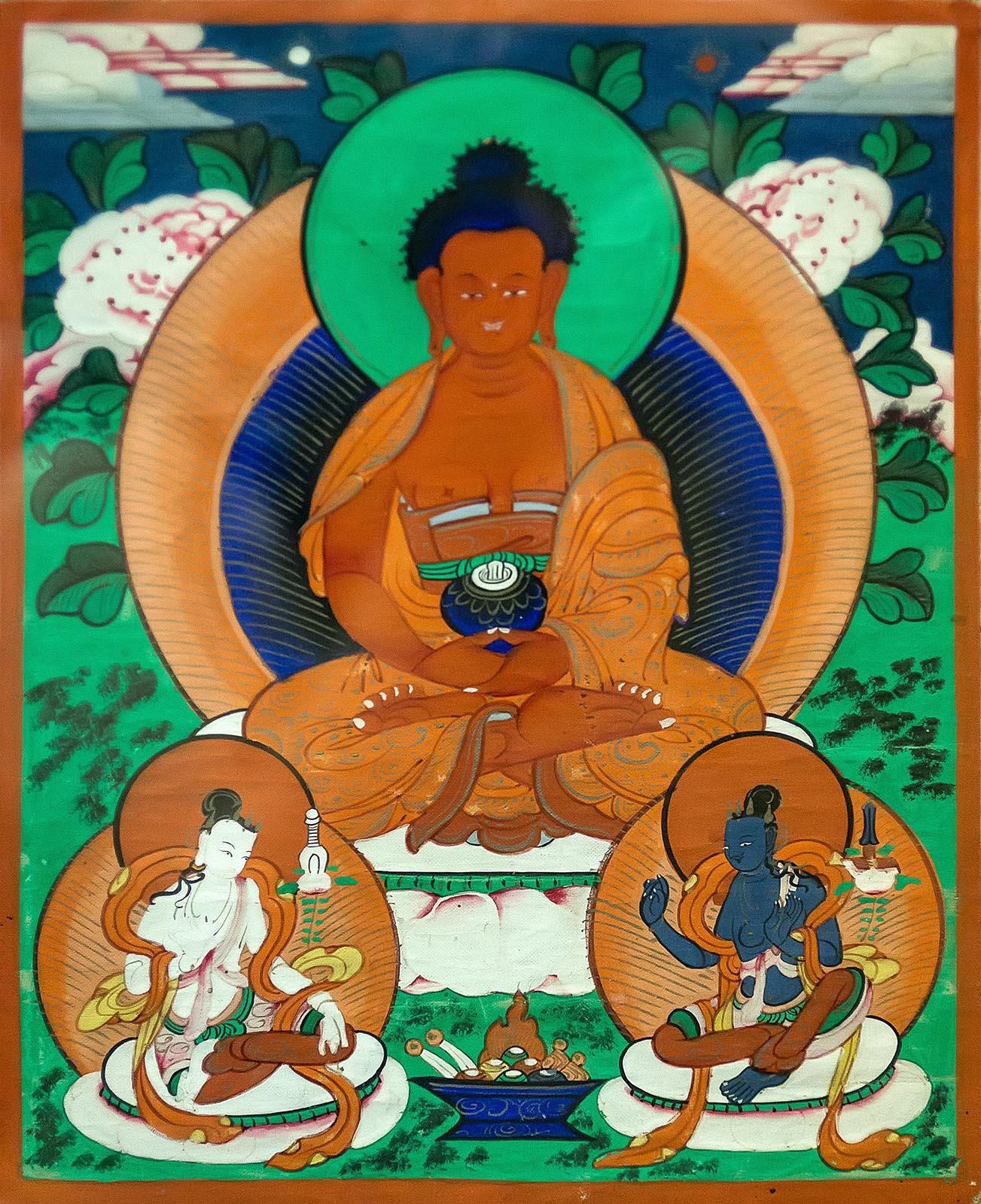 Фото №211477. ЛХАМО Монголия, XIX век Холст, минеральные краски