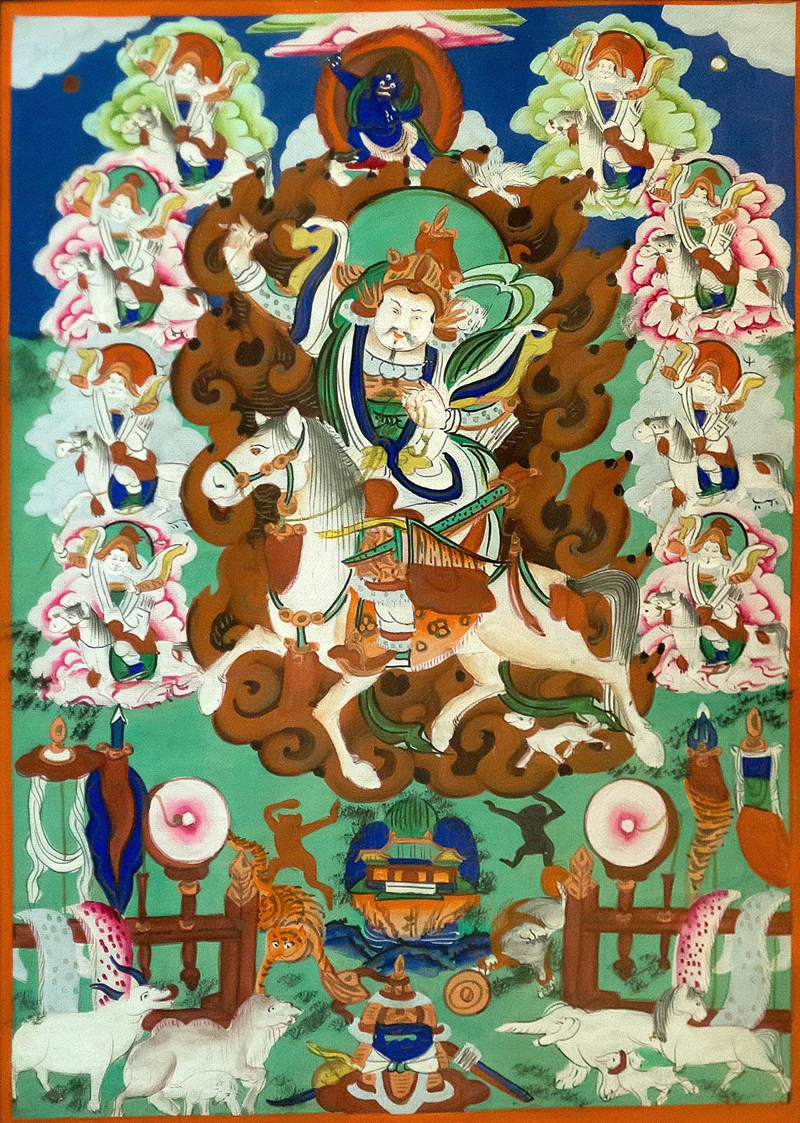Фото №211483. ДАЛХА С ВОСЕМЬЮ СПУТНИКАМИ Монголия. Конец XIX века Холст, минеральные краски