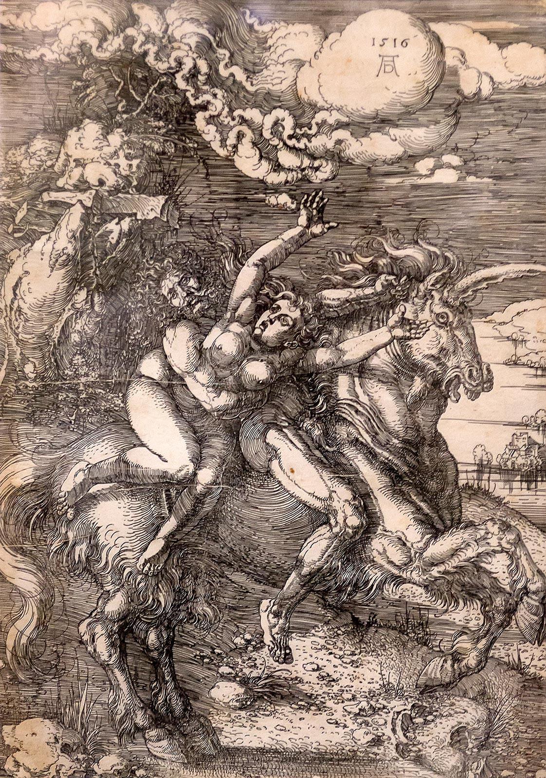 Фото №211623. ДЮРЕР, АЛЬБРЕХТ. 1471-1528. ПОХИЩЕНИЕ НА ЕДИНОРОГЕ. 1516