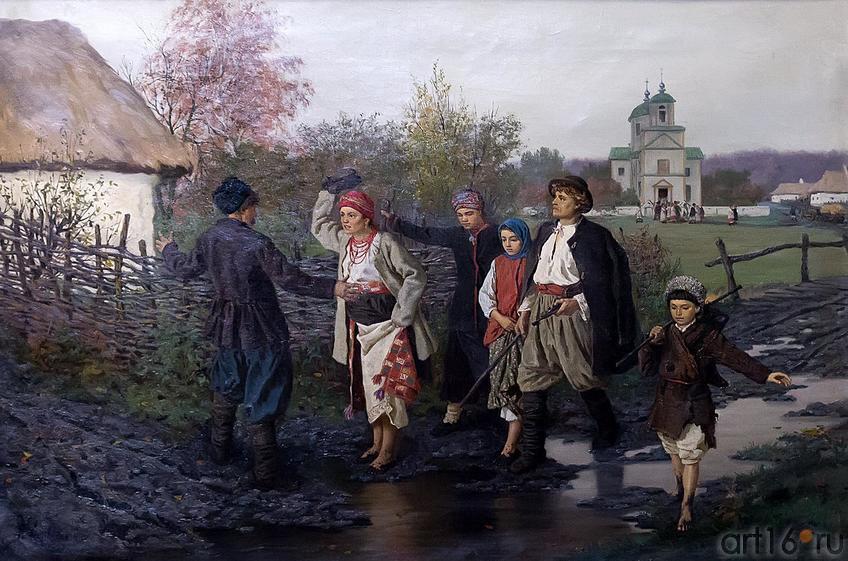 Фото №211792. ТРУТОВСКИЙ КОНСТАНТИН АЛЕКСАНДРОВИЧ 1826-1893 ВОЗВРАЩЕНИЕ ИЗ ЦЕРКВИ. 1887 Холст, масло