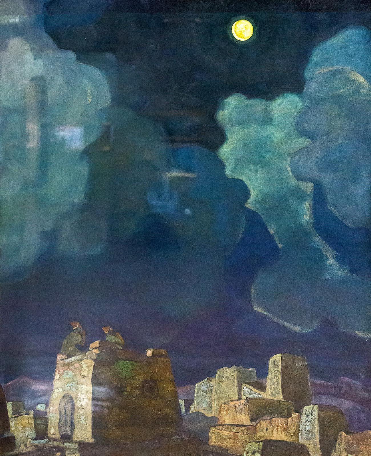 Фото №212277. РЕРИХ НИКОЛАЙ КОНСТАНТИНОВИЧ. 1874-1947 МЕХЕСКИ - ЛУННЫЙ НАРОД. 1915 Бумага на картоне, масло, темпера