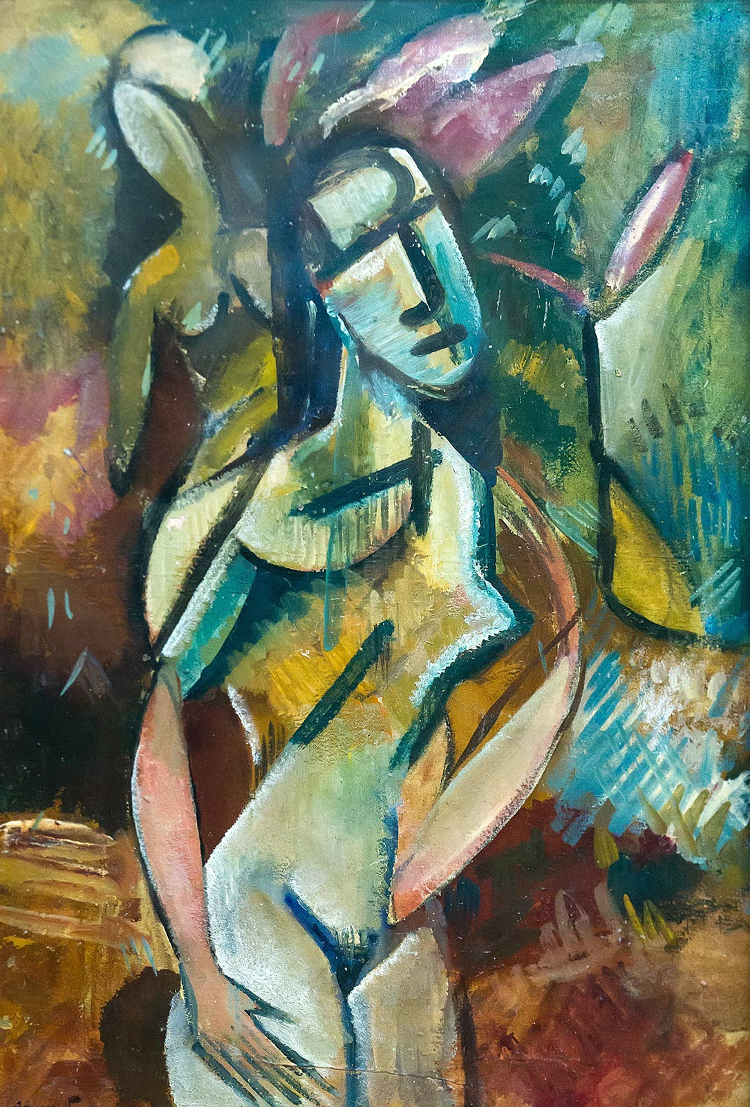 Фото №212451. РОДЧЕНКО АЛЕКСАНДР МИХАЙЛОВИЧ 1891-1956 ДЕВУШКА С ЦВЕТКОМ. 1915-1916 Картон, темпера, лак