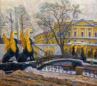 ПАПИКЯН А.С. 1926-1997 КАЗНАЧЕЙСКИЙ МОСТ. 1982 Картон, масло