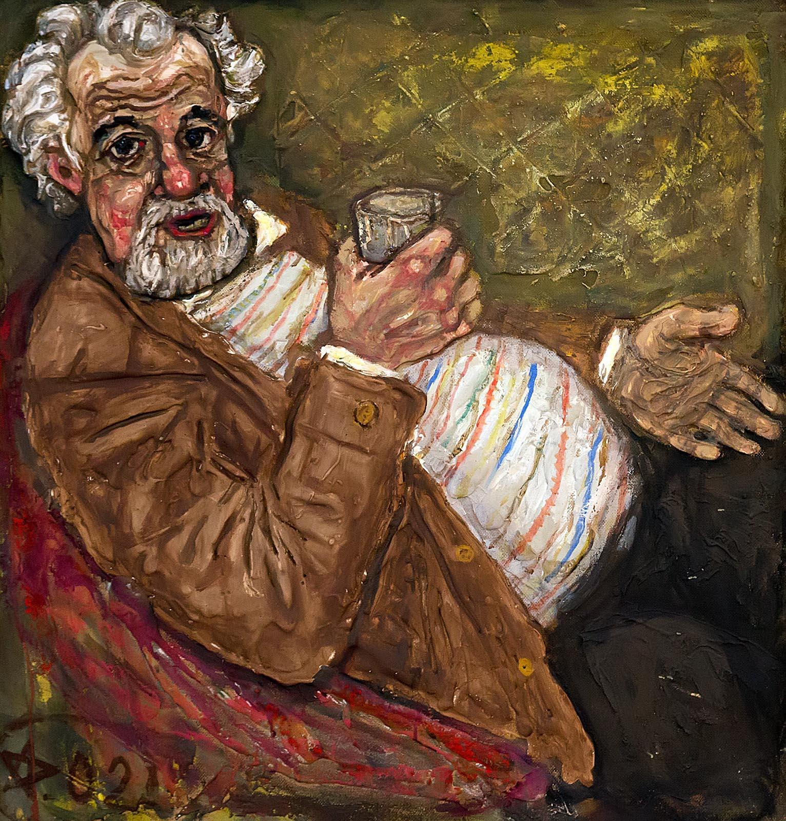 Фото №213585. ШТЕРН А.Г. 1942 ПОРТРЕТ ПИСАТЕЛЯ С.В. БЕЛОВА. 1998 Оргалит, смешанная техника