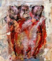ЛУККА В.Н. 1945 ВСТРЕЧА ВОЛХВОВ (ТРИ ФИГУРЫ). 1998 Холст, смешанная техника