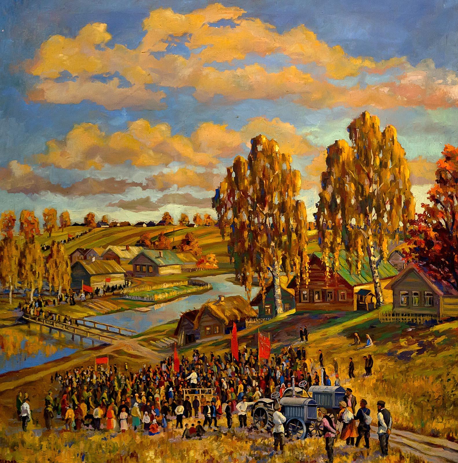 Фото №213651. ПЕРВОВ А.П.1 пол. XX в. ВСТРЕЧА ТРАКТОРОВ. 1930