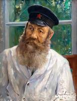 МОДОРОВ Ф.А. 1890-1967 ПОРТРЕТ ВЕТЕРАНА ТРУДА Е.ХОМЯКОВА. 1934 Холст, масло