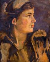 САМОХВАЛОВ А.Н. 1894-1971 ДЕВУШКА - БОЕЦ. 1945 Холст, масло