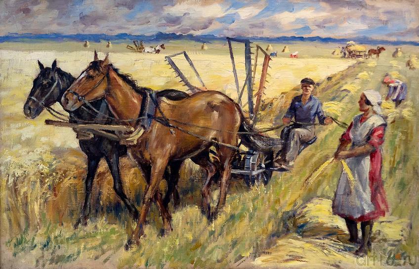 Фото №213693. ПОЛЯКОВ Г.Я. 1901-1948 РАБОТА В ПОЛЕ. КОСЬБА. 1935 Холст, масло