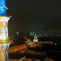 Вид на Казань с одного из минаретов мечети Кул Шариф