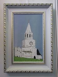 Картина вышитая бисером с изображением Спасской башни Кремля