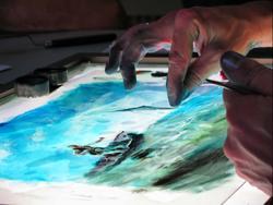 Тонкий силуэт получается благодаря ноготку художника