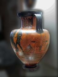 Амфора чернофигурная. А: Аякс с телом Ахила. Б: Выезд Зевса и Геры на колеснице
