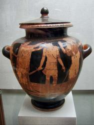 Стамнос краснофигурный: Победа Тезея над Минотавром