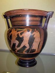 Кратер краснофигурный: Сражение Тезея с Минотавром