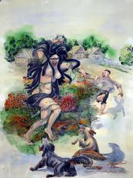 Иллюстрация к сказке Г. Тукая «Водяная», 1987