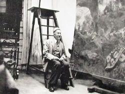 И.Е. Репин у картины «Гопак». 1929