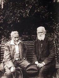 И.Е. Репин и И.П. Павлов в саду. Пенаты 1924